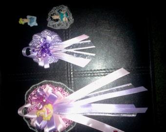 Custom Disney princess. Baby shower/Birthday  corsage &25   pin ons/capias