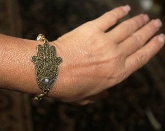 Hamsa bracelet, Hamsa charm bracelet, Evil eye bracelet, charm bracelet, Hamsa, hamsa, hamsa, bronze, antique