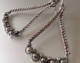 Silver earrings with silver beads - wirewrapped silver dangle earrings
