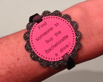 Girl's Night Out - Pink Bachelorette Party Game Bracelets - Glitter Jewelry Decorations  - set of 12 - customizable for Birthdays