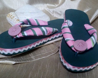 One of a Kind - Hand Decorated - Girl's Flip Flops - 11/12 (green, pink, white)