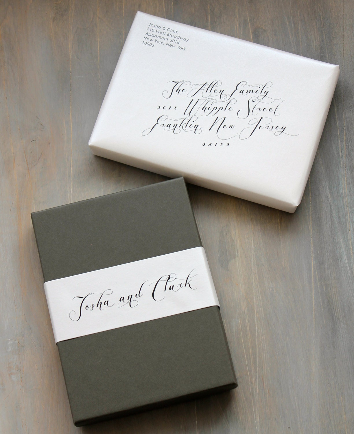 Modern Script Wedding Invitations Elegant Boxed Wedding