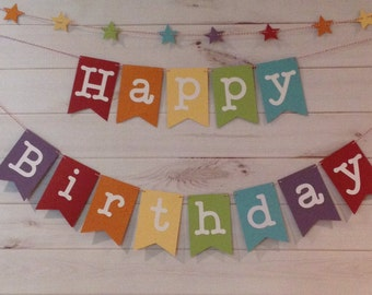 Rainbow Happy Birthday Banner with star garland, Birthday Banner