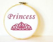 Counted Cross stitch Pattern PDF. Instant download. Princess. Includes beginners instructions.