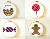 Counted Cross stitch Pattern Collection PDF. Lolly shop patterns. Instant download. Includes easy beginner instructions.