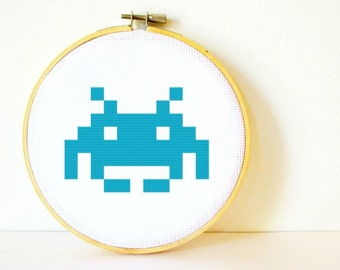 Counted Cross stitch Pattern PDF. Instant download. Space Invaders. Includes easy beginners instructions.