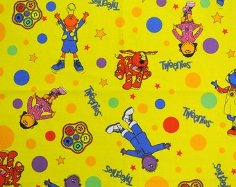Large vintage 1980s design fabric in highquality cotton with large printed multicolor children motive on strong yellow bottomcolor