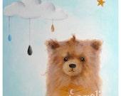 Children's Art, Dog Nursery Art Print, Sleeping Blue Cloud, Nursery Decor, Dog Art Print, Kids Wall Art