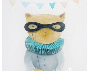 Party cat art, Kids Wall Art - Nursery decor- Playroom Decor - Nursery wall art - Whimsical animal illustration, cat print