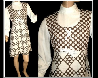 Vintage 1960s Dress Rockabilly Mad Man Retro Pinup Bombshell Corset Shift Brown Antique White Garden Party  Dress