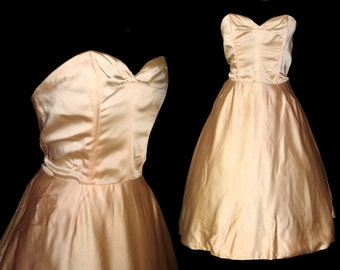 Vintage 1950s Dress Designer Harvey Berin Dress Strapless Femme Fatale Garden Party Mad Man Prom Pinup Bombshell