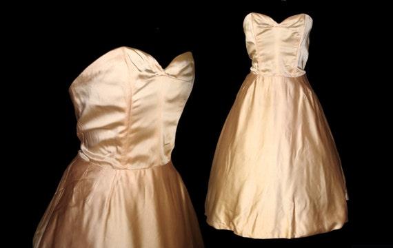 Vintage 1950s Dress Designer Harvey Berin Dress Strapless Femme Fatale Garden Party Mad Man Prom Pinup Bombshell