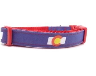 Colorado Dog Collar, Colorado Flag Collar, Colorado Flag Dog Collar, Colorado Collar, Colorado Dog (XS, S, Leash Sizes)