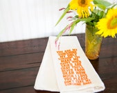 Tea Towel - Hand Printed Organic Flour Sack - You Are My Sunshine (orange)