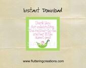 Baby Girl Sweet Pea Shower Thank You Favor Tags - DIY - PRINTABLE SHEET