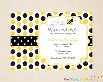 Bee Birthday Invitation, Bumble Bee Invitation, Bee Party Invitation  (BYB1) (Yellow, Black & White) by The Party Paper Fairy