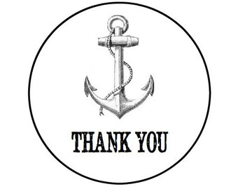 24 ANCHOR Thank You- Kraft or White round labels/seals - wedding seal 1""