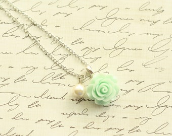 Seafoam Green Mint Rose and Pearl Necklace in Silver or Antique Bronze - Bridesmaid Necklace - Flowergirl Necklace - Seafoam Mint Wedding