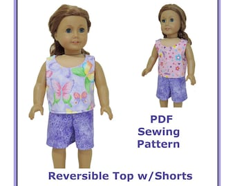18 inch American Girl Doll Clothes PDF pattern Easy Sew Reversible Tank Top with Shorts Accessory
