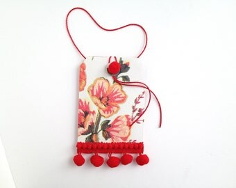 hanging paper pocket - small folder - decorative envelope  - mini folio - Valentine