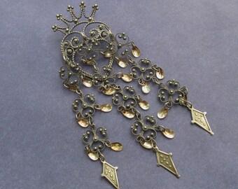 Vintage Solje Brooch Norway 830 Silver Filigree Heart Crown Wedding Pin