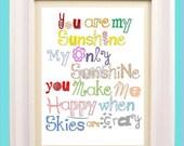 "You Are My Sunshine Art Print // Colorful Nursery Decor // Rainbow Colors Nursery Art // Art for Kids Room // 8x10"" PRINT ONLY"