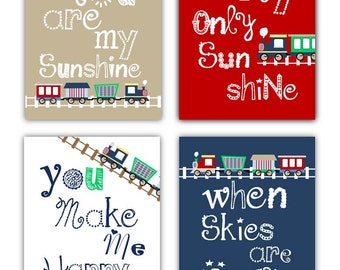 Train Art for Kids // Train Decor // Train Nursery Art Prints // Train Nursery Decor // Navy Blue and Red Art for Boys //4-8x10 PRINTS ONLY