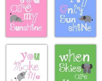 Elephant Art // You Are My Sunshine Art Prints // Art For Girls Room // Pink and Green Nursery Decor // Pink and Blue Art //4-8x10 PRINTS