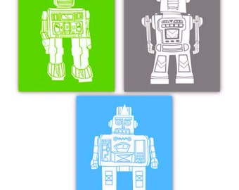 Robot Art // Robot Nursery Decor // Robot Art for Kids // Robot Wall Art // Robot Decor // Robot Art Prints // Art for Boys // 3-8x10 PRINTS