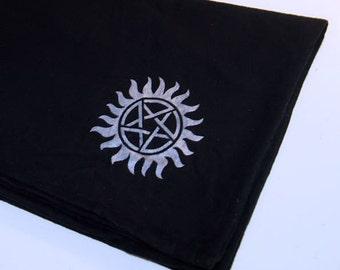 Black and Silver Supernatural Starburst Pentagram Snuggle Flannel Baby Blanket