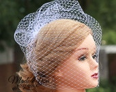 "Chin Level Birdcage Veil Fascinator-Veil Only-18"" Veil-Ivory or White"