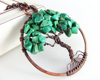 Tree Of Life Pendant Wire Wrapped Jewelry Green Turquoise Copper Jewelry Wire Wrapped Jewelry Wire Tree