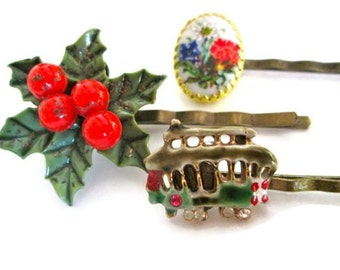 Christmas Hair Accessories Holiday Hairpins Accessories Poinsettia Bobby Pins Clips