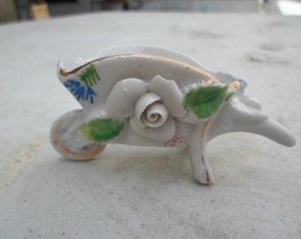 Vintage Cheap 1940s Occupied Japan Miniature Wheelbarrow White Porcelain Flowers Not Perfect Tiny