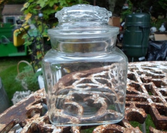 Vintage 1970s to 1980s Clear Glass Canister Jar With Lid Square Apothecary Medium Size Storage Kitchen Craft Room