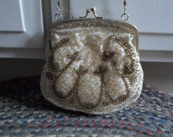 Vintage Gold Tone Kiss Lock Long Chain Handbag Evening Dressy By Regale LTD Fabric With Glass Beading Satin Inside