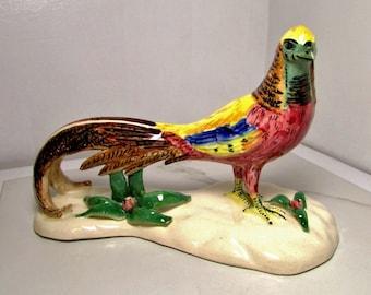 Ceramic Pheasant - Colorful Openwork Vintage Figurine ~ Treasury Item