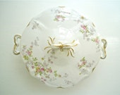 Limoges Round Serving Bowl with Lid, Antique Pink and Yellow Roses with Gold, Haviland Style