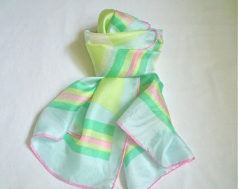 Vintage Silk Scarf Striped with Cool Pastel Shades