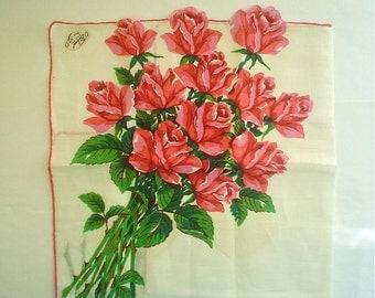 Unused Burmel Hankie with Pink Long Stemmed Roses Irish Linen Vintage Handkerchief with Label