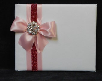 White and Pink Bridal Guest Book