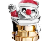 Pugster Silver and Gold Plated Red Enamel Santa Claus in Chimney European Charm (pug044)