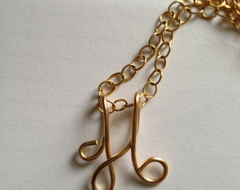 Gold H, Gold pendant, gold jewelry, Lilyb444, Etsy jewelry, Etsy wedding