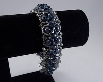 Swarovski Beadwoven Bracelet Steel Blue Pearls and Swarofski Crystals Womens Birthday Gifts Anniversary Gift for Her