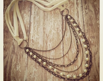 Anthro Inspired Pearl Tie Back Statement Necklace