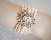 QUIANA, Bridal Bracelet, White Ivory Champagne Swarovski Pearl Bridal Bracelet Jewelry, Rhinestone Wedding Bracelet, Vintage Style Jewelry