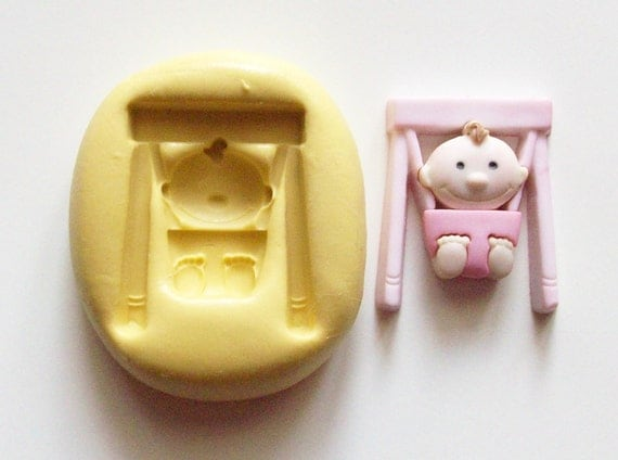 Baby bouncing chair Mold #477 - silicone mold, craft mold, porcelain mold, jewelry mold,resin mold, candle mold, clays mold, flexible mold