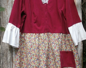 SALE,WAS 59.00Long Deep Red Corduroy,Floral Shirt,Bohemian  Shirt,Upcycled Shirt,Eco Friendly,Size 2X