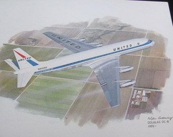 Vintage United Airlines Print Poster - Douglas DC-8 - Galloway