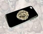Silver Lion Head Iphone Case Antique Sterling Silver Embellished on Hand Painted Onyx Black Enamel with Customizable and Personalized Option